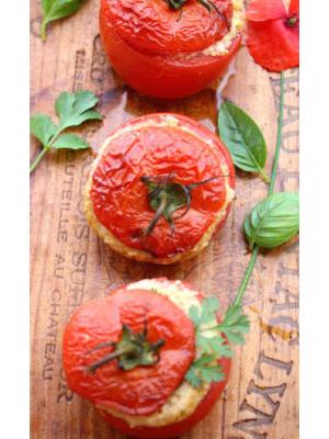 Tomates farcis mozzarella et jambon blanc