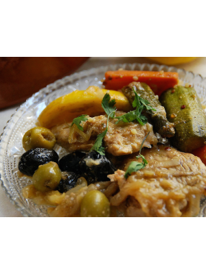 Tajine poulet, citron et olives