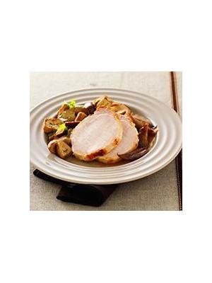 Rôti de porc aux échalotes et cèpes persillés