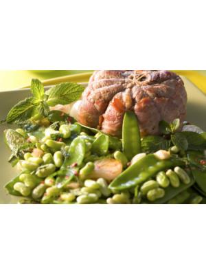 Tournedos de gigot aux légumes verts et à la mente